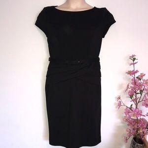 EVAN PICONE sheath belted black dress